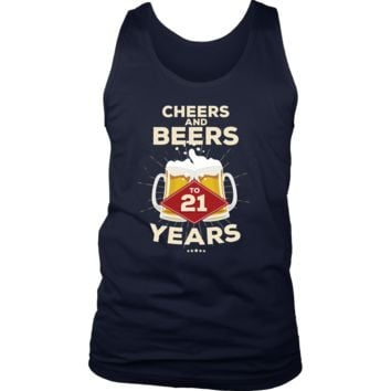 Men's 21st Birthday Tank Top Gift - Cheers and Beers to 21 Years