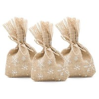 25 Christmas Favor Gift Bags Burlap and White Snowflakes, 4 x 6 Inch