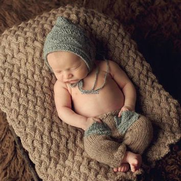 2017 Newborn Baby Cute Crochet Knit Costume Prop Outfits Photography Baby Hat Pants APR05_17