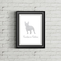 French Bulldog art print - Frenchies are Fabulous Silver Foil Art Print - Modern Home Decor - dog silhouette art print