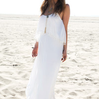 White Lace Trim Strappy Maxi Dress
