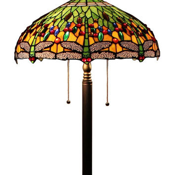 "Tiffany Style Dragonfly Floor Lamp 18 "" Wide"