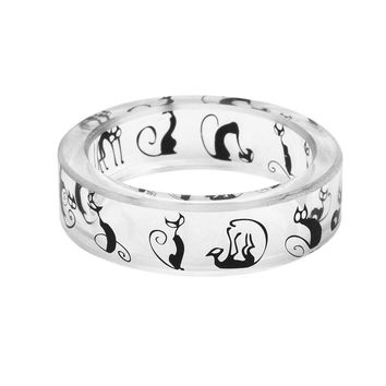 Cute Animals Ink Painting Resin Rings