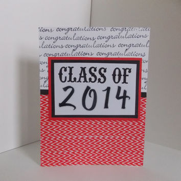 Congratulations Graduation Handmade Greeting Card - Class of 2014 - Red and Black - College - High School
