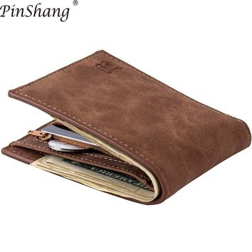 PinShang Fashion 2018 Men Wallets Men Wallet with Coin Bag Zipper Small Money Purses New Design Dollar Slim Purse Money Clip Z30