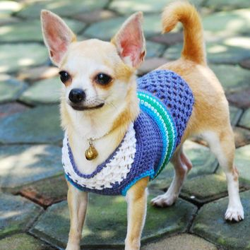 Turquoise Handmade Crocheted Chihuahua sweater - Free Shipping