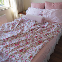 Shabby chic bedding bed sheet, flat sheet, top sheet - comforter sheet -red, lilac or pink floral queen size sheet