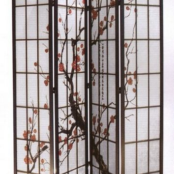 4 panel black finish wood framed room divider with Plum Blossom design