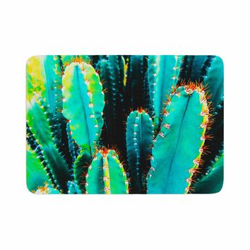 "mmartabc ""Desert Cactus Colorful"" Blue Green Nature Travel Photography Painting Memory Foam Bath Mat"