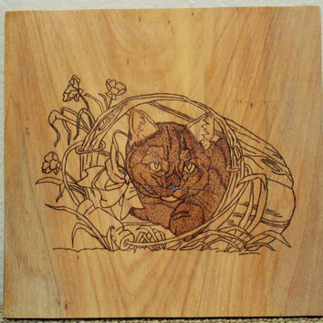 Woodburned Cat Wall Plaque on Cypress Wood; Handcrafted Cat Wall Decor; Rustic Cat Wall Art; Cat Wall Plaque; Rustic Decor