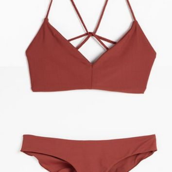 HOT RED TWO PIECE BACK SEXY DESIGN SWIMWEAR BATHSUIT SWIMSUIT