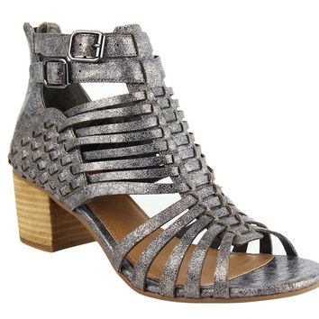 05f92807bc5 Not Rated Ofanto Pewter Strappy Heeled Sandals