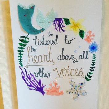 Disney Little Mermaid inspired quote canvas art.