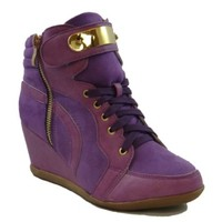 Olympic Lace Up High Top Wedge Sneaker Purple