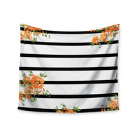 "NL Designs ""Orange Floral Stripes"" Black Floral Wall Tapestry"