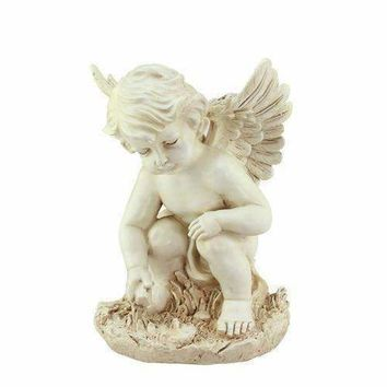 "12"" Heavenly Gardens Distressed Ivory Sitting Cherub Angel Outdoor Patio Garden Statue"