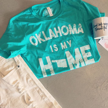 """Mint """"Oklahoma is my Home"""" t-shirt"""