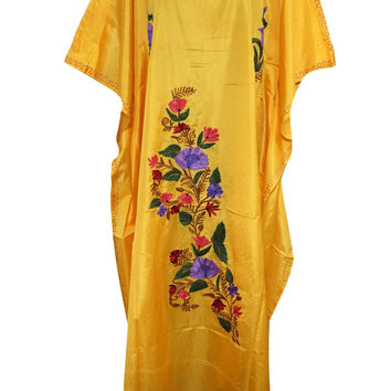 Bohemian Silk Kaftan Yellow Kashmiri Embroidered Caftan Kimono Dress for Womans Xxxl