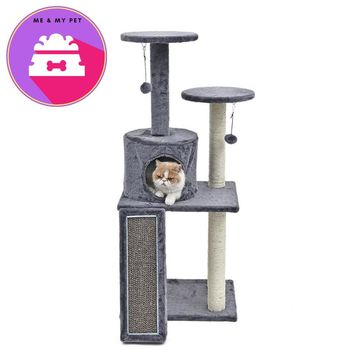 Fast Ship Cat Scratching&Furniture Cat Toy Climbing With Stairs Luxury Pet House With Ball Playing For Kitten High Quality
