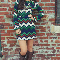 Fall Softly Chevron Dress: Multi | Hope's
