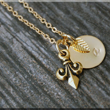 Gold Fleur de Lis Charm Necklace, Initial Charm Necklace, Personalized, French Charm, Fleur de Lis Pendant, Fairytale Jewelry, Royal Charm