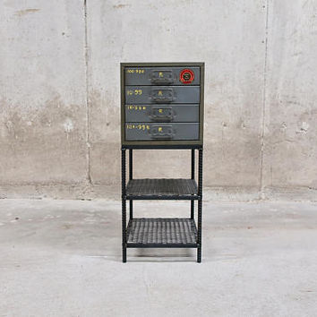 Vintage Industrial Table Union Chests Drawers with ReBar Legs and Two Mesh Shelves