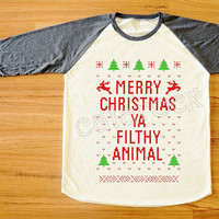 NEW Merry Christmas Ya Filthy Animal TShirt Merry Christmas Shirt Long Sleeve Tee Shirt Women TShirt Unisex Shirt Raglan Baseball Tee S,M,L