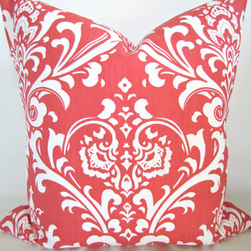 Sale PILLOW COVER 16x16 CORAL Decorative Throw Pillows 16 x 16 Pillow Covers salmon orange Damask accent Home and Living