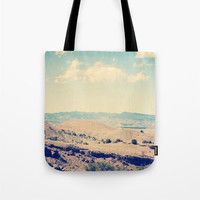 Art Tote beach Bag Wild West fine art photography summer Fashion photograph photo blue sky tan brown clouds desert landscape hazy green bush