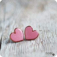 Post earrings - Pale pink Hearts