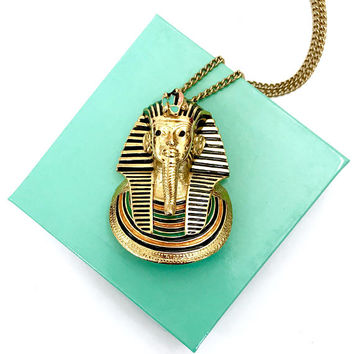 Eisenberg King Tut Pendant Necklace, Egyptian Revival, Coral Black and Turquoise Enamel, 18k Gold Plated Pendant, Vintage Gift for Her