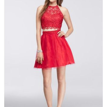 Homecoming Crop Top with Tulle Skirt - Davids Bridal