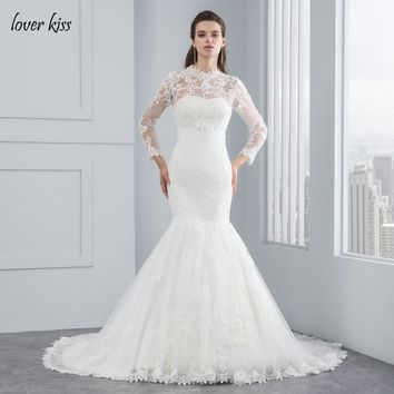 Lover Kiss 2017 Robe De Mariee Elegant Lace Bride Gowns Muslim Lace Two Piece Strapless Wedding Dress with Jacket Long Sleeves