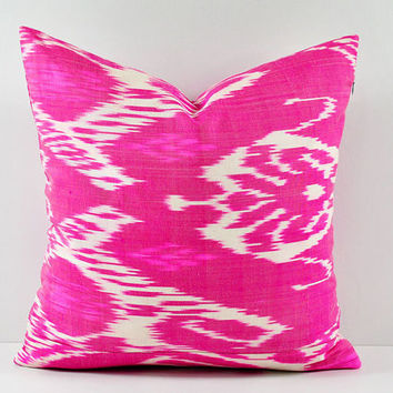 Ikat Pillow, Hand Woven Ikat Pillow Cover, Ikat throw pillows, Pink Ikat Pillow, Designer pillows, Decorative pillows, Accent pillows