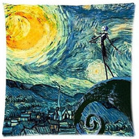 Starry Night and the Nightmare Before Christmas Printed Custom Throw Pillowcase