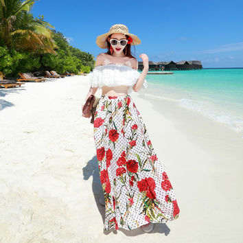 Summer Chiffon Bohemia Skirt Print Sea Vacation Slim Maxi Dress [6272119174]