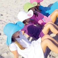 Monogrammed Childs Wide Brim Floppy Hat Four Colors To Choose From