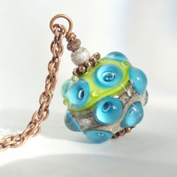 Lampwork pendant necklace blue green beaded jewelry