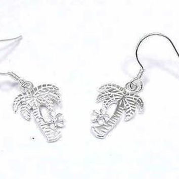 SILVER 925 HAWAIIAN PALM TREE PLUMERIA EARRINGS ON WIRE
