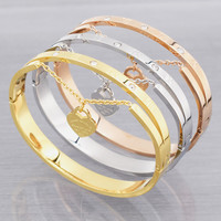 Luxury Love Of Stainless Steel Roman Numerals Bangle Bracelets For Women Jewelry