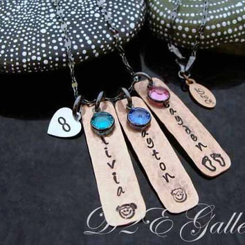 SALE D2E hand stamped Mothers Jewelry mixed metal copper and silver necklace, personalized with birthstones