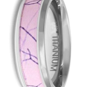 CERTIFIED 6mm Titanium - Pink Camouflage Ring Wedding Band