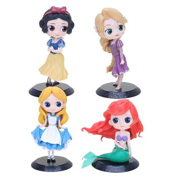 Q Posket American Cartoons Movie Alice in Wonderland Ariel The Little Mermaid Alice Snow White PVC Action Figure Model Toy