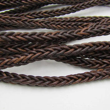 "Leather braided square cord.... 10 yards of Antique brown, 11mm size (7/16""),  1077"