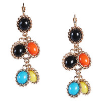 Fashion Colorful Resin Bib Chunky Unique Statement Pendant Earrings