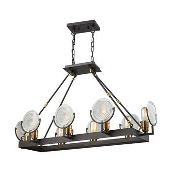 14505/8 Ocular 8 Light Chandelier In Oil Rubbed Bronze With Satin Brass Accents And Clear Railroad Light Glass