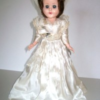 1950s Bride Doll Plastic Body 12 Inches Mohair Wig Sleep Eyes Unmarked