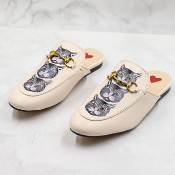 Gucci Princetown Slipper With Mystic Cat
