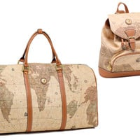 Vintage Style World Map Duffle Travel Bag and Backpack Set