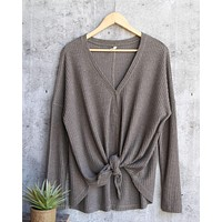EVA - long sleeve thermal waffle knit v neck button down lightweight sweater - olive